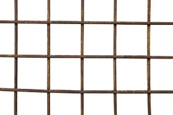 old metal grille with rust isolated on a white background. High quality photo