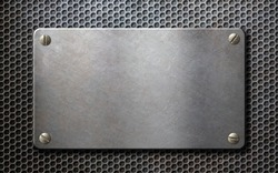 old metal plate over grid metallic background