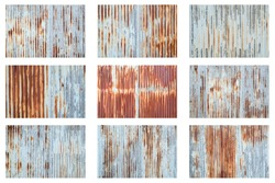 Old metal sheet roof texture isolated on white background. Rusty metal sheet texture set.