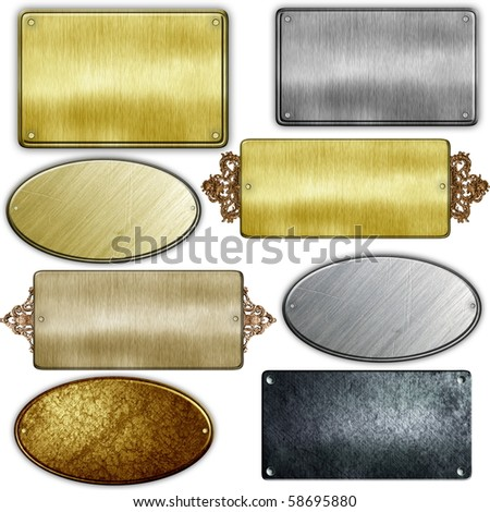 old metal sign collections isolated on white