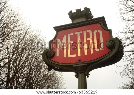 Old Metro sign in Paris