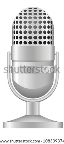 old microphone illustration isolated on white background