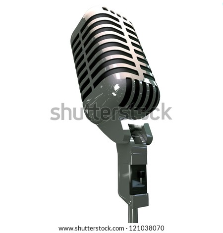 old microphone isolated on white background