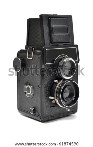 Old middle-format camera over white