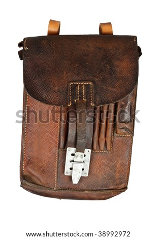 Old Military bag isolated on  a white background