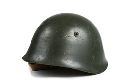 Old Military Helmet Isolated on White
