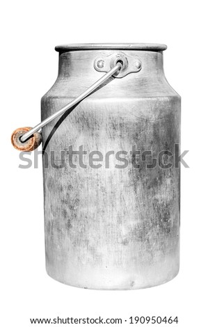 Old milk can isolated on white background.