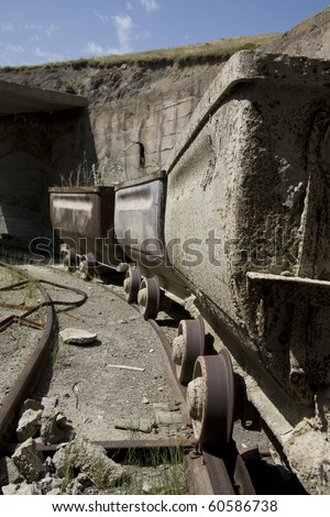 Old mine carts in a row