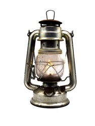old Miner's lamp isolated on white background