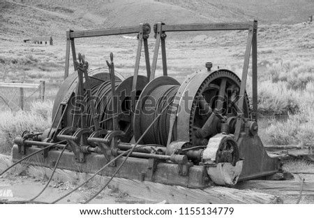 Old Mining Cables and Pulleys in the Ghost Town of Bodie California
