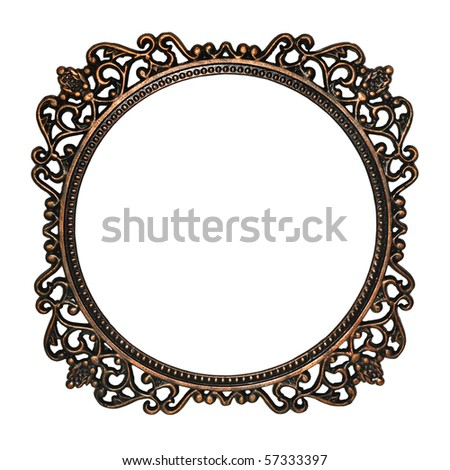 Old mirror frame isolated on white background. Useful as picture frame or border