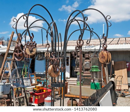 Old miscellaneous tools at the antique market for sale #1413762080