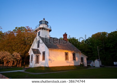 Old Mission Point Lighthouse in Michigan at Dusk