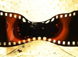 old 35mm film burnt and melting