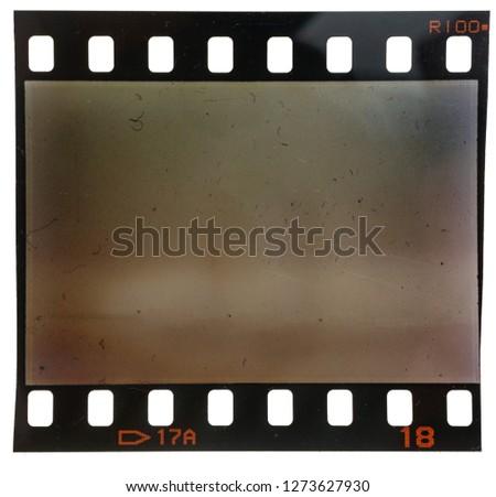 Old 35mm filmstrip on white