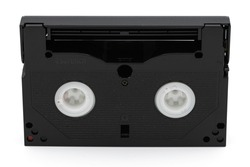 old 8mm magnetic tape on white background