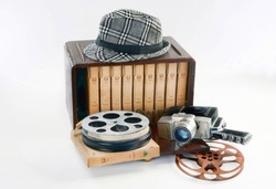 Old 16mm movie equipment from the 1940's.