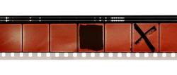 old 16mm movie film strip on white background