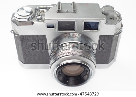 old 35mm rangefinder camera, top view, on a white background.