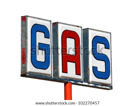 Old mojave desert gas sign isolated on white.