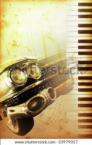 old moldy piano blues or jazz background with old timer Stock photo ©