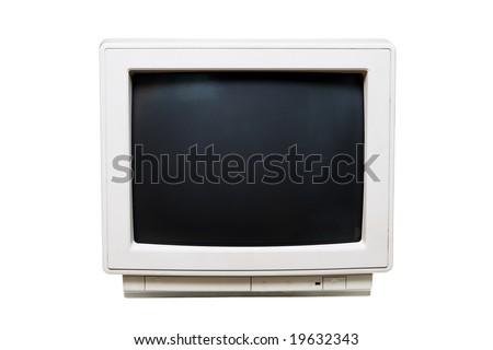 Old monochrome computer monitor  on white background - stock photo