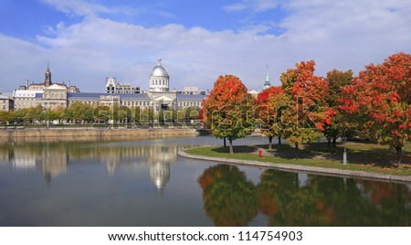 Old Montreal, Bonsecours Basin reflections in autumn