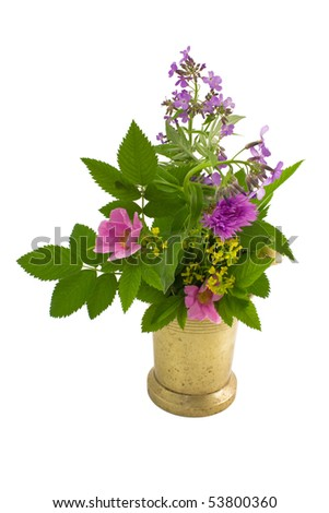 Old mortar and bouquet of herb on a white background close-up