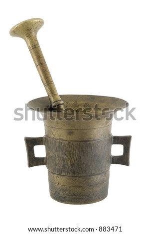 Old mortar and pestle isolated over white with clipping path