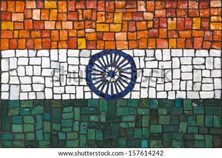Old mosaic flag of India close up