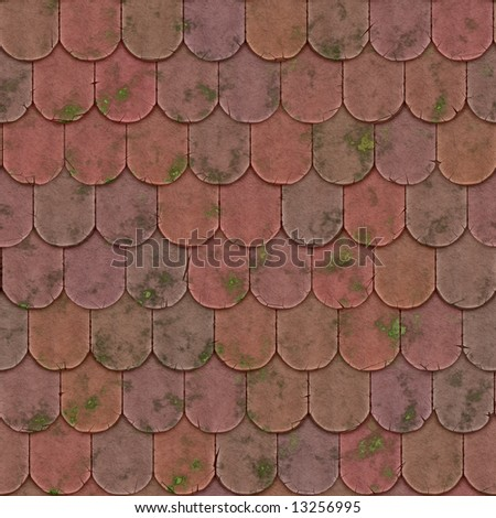 Old mossy section of a brick-tile roof - seamless texture