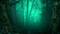 Old mossy trees on blue misty scary forest background. Halloween landscape with leafless crooked branches silhouettes