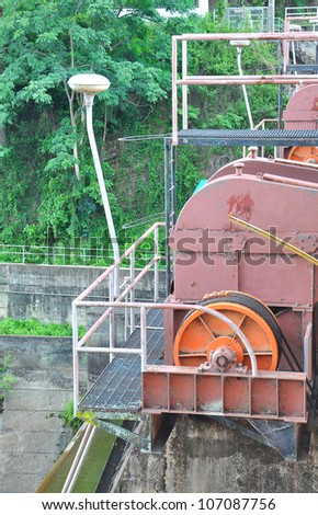 old motor driven of dam