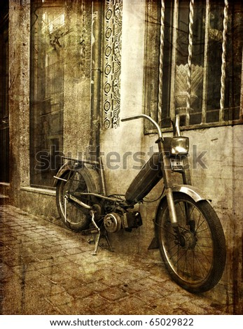 old motorbike - stock photo
