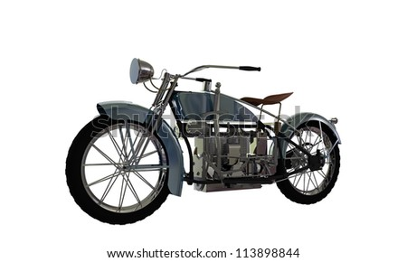 old motorcycle isolated on white background - stock photo