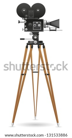 old movie camera illustration isolated on white background