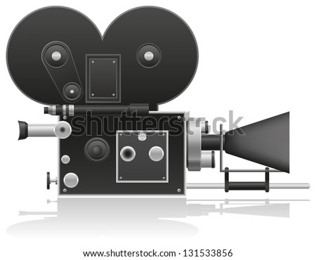 old movie camera vector illustration isolated on white background