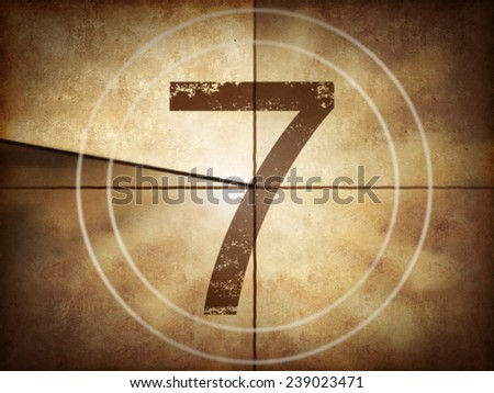 Old movie countdown with number 7