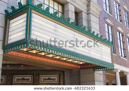 Old movie theater entrance sign