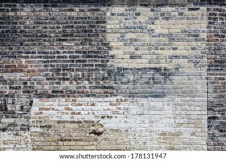 Old multi colored brick wall Stockfoto ©