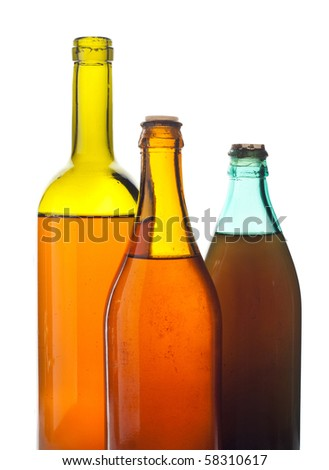 Old multicolored wine bottles