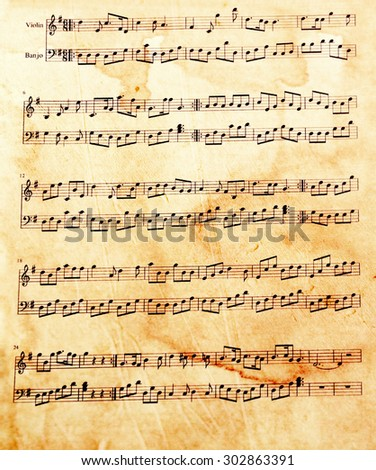 Old music sheet, closeup #302863391