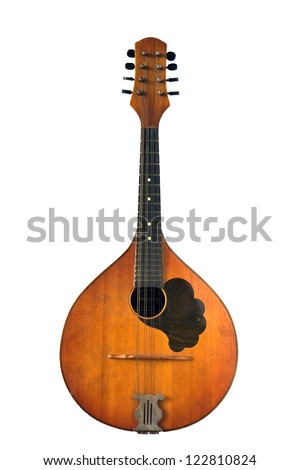 Old musical instrument - mandolin isolated on white background