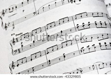 Old musical notes book close up