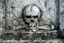 Old mystic aged skull and bones on stone slab graveyard - concept black death dead myth dark horror helloween history sign past grave cemetery rotten lost place cranium mystic symbol sign background