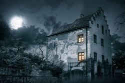 Old mystic villa in moonlight