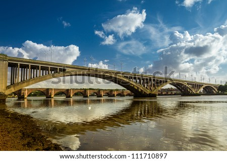 Old nad new bridges in Berwick-upon-Tweed - stock photo