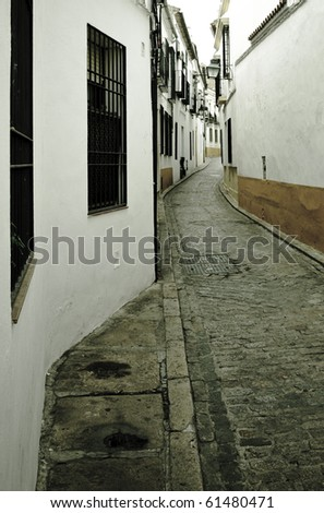 Old narrow street and white buildings in the Jewish quartier of Cordoba, Andalusia