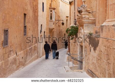 Old narrow  street of european town (Mdina, Malta)