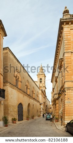 Old narrow  street of european town (Mdina, Malta)